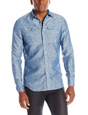 G-Star-Raw-Mens-Arc-3D-Long-Sleeve-Button-Up-Shirt-In-Bean-Chambray-Rinsed-0